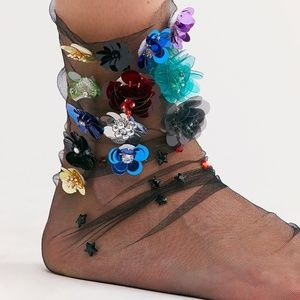 Free People Secret Garden Tulle Socks by High Heel